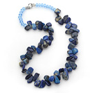 Wholesale Dark Blue Series Irregular Shape Top Drilled Lapis and Blue Crystal Necklace