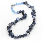 Wholesale Dark Blue Series Irregular Shape Top Drilled Sodalite Stone and Blue Crystal Necklace