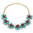 Assorted Green Turquoise and Red Coral Flower Necklace with Yellow Color Metal Chain