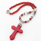 Wholesale New Design Round Red Carnelian Necklace with Red Turquoise Cross Shape Pendant