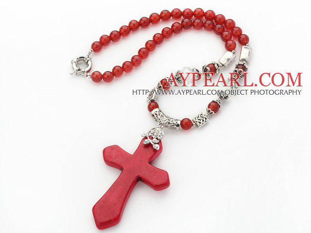 New Design Round Red Carnelian Necklace with Red Turquoise Cross Shape Pendant