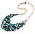 Green and Black Series Green Crystal and Black Agate and Black Seashell Necklace with Metal Chain