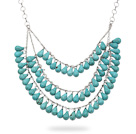 New Design Three Layer Teardrop Shape Green Turquoise Necklace with Silver Color Metal Chain