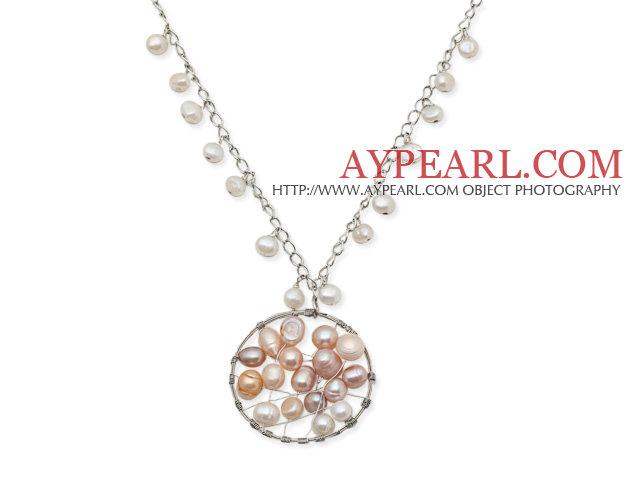 New Design Weiße Süßwasser Perlenkette mit gewickelter Draht Perle ...