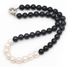 Assorted 10-11mm Round Black Agate and White Freshwater Pearl Beaded Necklace