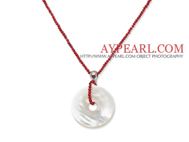 New Design 2mm Round Red Coral Necklace with Donut Shape White Shell Pendant