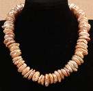 Popular Style Natural Coin Shape Pink Rebirth Pearl Choker Necklace