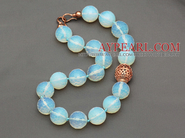 20mm Faceted Opal Crystal Beaded Knotted Necklace with Golden Rose Color Metal Ball