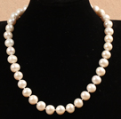 Best Mother Gift Beautiful 11-12mm Natural White Freshwater Pearl Party Necklace With Heart Clasp