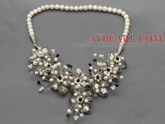 White Freshwater Pearl and Gray Crystal and Black Crystal Flower Crocheted Necklace