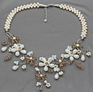White Freshwater Pearl and Opal Crystal and Light Brown Crystal Flower Crocheted Necklace