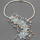 Elegant Style White Freshwater Pearl and Opal Flower Crocheted Necklace