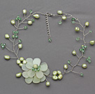 Wholesale Light Green Series Green Freshwater Pearl and Green Crystal and Serpentine Jade Flower Crocheted Necklace