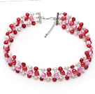 White Pink and Red Three Color Freshwater Pearl Wire Crocheted Choker Necklace
