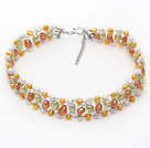 Assorted Multi Color Freshwater Pearl Wire Crocheted Choker Necklace