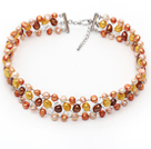 Orange and Yellow and Pink Color Freshwater Pearl Wire Crocheted Choker Necklace