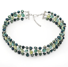 Assorted Peacock Green Color Freshwater Pearl Wire Crocheted Choker Necklace