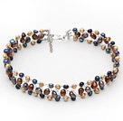 Brown Coffee Series Freshwater Pearl Wire Crocheted Choker Necklace