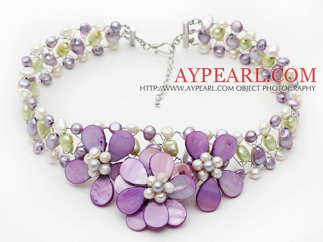 Elegant Style Violet Series Violet and Light Green Pearl and Violet Shell Flower Crocheted Necklace