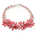 Red Series White Freshwater Pearl and Red Shell Flower Crocheted Necklace