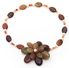White Freshwater Pearl and Three Colored Jade Flower Necklace