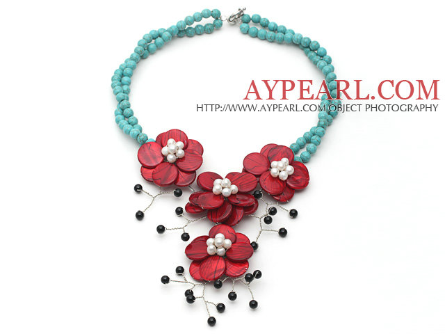 Green Turquoise and White Freshwater Pearl and Black Agate and Red Shell Flower Necklace