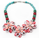Assorted Green Turquoise and Alaqueca and Pearl Shell Flower Necklace