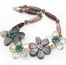 Wholesale Gray Series Barrel Shape Agate and Gray Shell and Turquoise Flower Necklace
