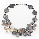 Gray Series Sponge Shell and Pearl Crystal Flower Necklace with Lobster Clasp