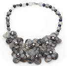 Gray Series Smoky Crystal and Black Freshwater Pearl Flower Necklace