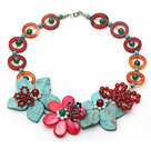 Red and Green Series Donut Shape Carnelian and Green Turquoise and White Pearl Flower Necklace
