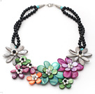 Assorted Black Agate and Multi Color Shell and Pearl Flower Necklace