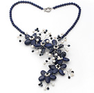 Wholesale Dark Blue Series Lapis and White Freshwater Pearl Flower Party Necklace