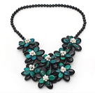 Wholesale Black and Green Series Black Agate and Phoenix Flower Party Necklace
