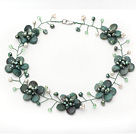 Green Series Green Dragon Stone and Green Pearl Crystal Flower Wire Crocheted Necklace