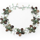 Green Series Green Opal and White Green Color Pearl Crystal Flower Wire Crocheted Necklace