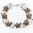 Brown Series Tiger Eye Flower and White Freshwater Pearl and Black Crystal Wire Crocheted Necklace