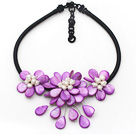 Purple Series Purple Shell and White Freshwater Pearl Flower Necklace with Black Cord