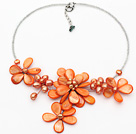 Orange Series Orange Shell and Pearl Flower Necklace with Glass Beads Chain