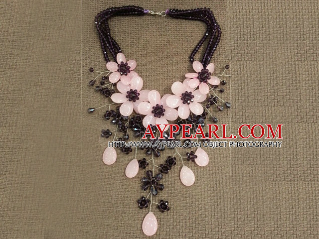 Gorgeous Statement Multi Layer Crystal Rose Quartz Flower Party Necklace