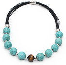 Wholesale Round Turquoise and Tiger Eye Leather Necklace with Magnetic Clasp