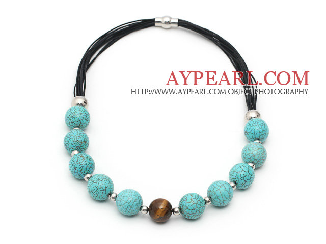 Round Turquoise and Tiger Eye Leather Necklace with Magnetic Clasp