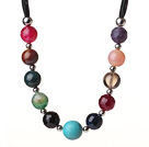 Assorted Multi Color Multi Stone Black Leather Necklace with Magnetic Clasp