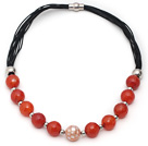 Faceted Red Carnelian and Mosaics Shell Leather Necklace with Magnetic Clasp