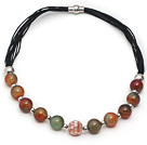 Round Peacock Agate and Mosaics Shell Leather Necklace with Magnetic Clasp