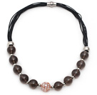 Brown Series Smoky Quartz and Mosaics Shell Leather Necklace with Magnetic Clasp