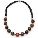 Wholesale Round Shape Tiger Eye and Carnelian Leather Necklace with Magnetic Clasp