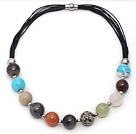 Assorted Multi Color Round Multi Stone Leather Necklace with Magnetic Clasp