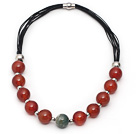Wholesale Red Series Round Fire Agate Leather Necklace with Magnetic Clasp