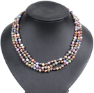 Fashion Style 3 Strand Natural Multi Color Freshwater Pearl Necklace